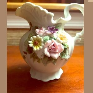 Vint Lefton China Floral Pitcher Hand Painted